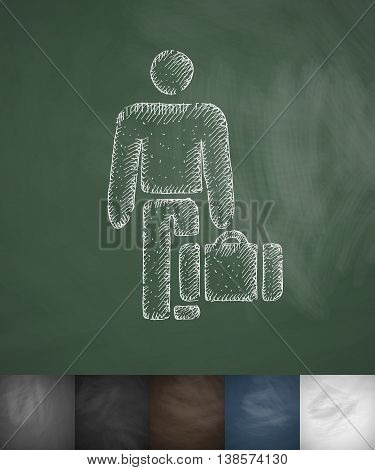 emigrant icon. Hand drawn vector illustration. Chalkboard Design