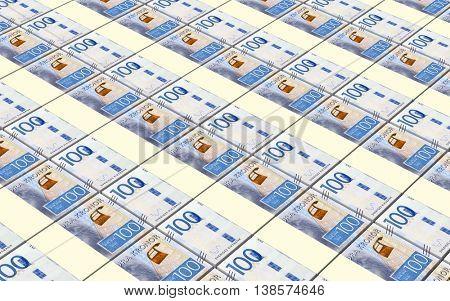 Swedish kronor bills stacks background. 3D illustration.