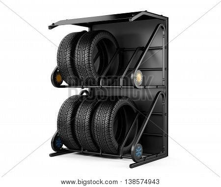 Summer and winter tires at a tire store. 3d image isolated on a white background.