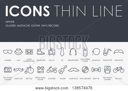 Thin Stroke Line Icons of Hipster on White Background