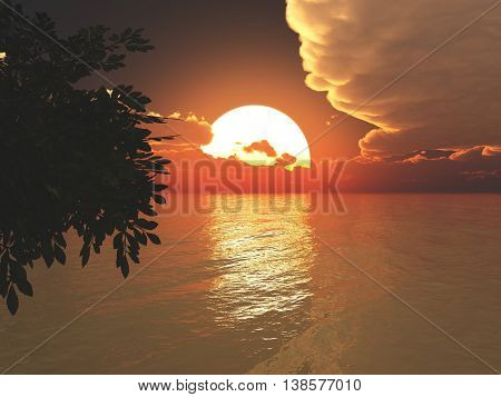 Sunset over Ocean - Bright Orange Sun on Ocean. 3D Rendered.