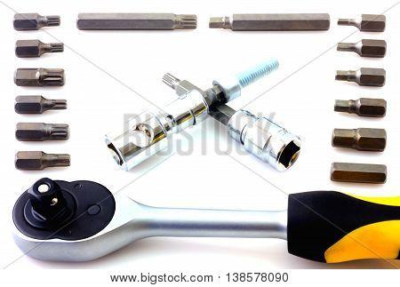 Mechanical bit tool set isolated on white background