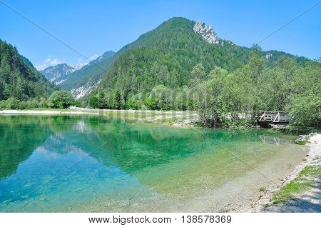 at Lake Jasna in Triglav National Park near Kranjska Gora,Slovenia