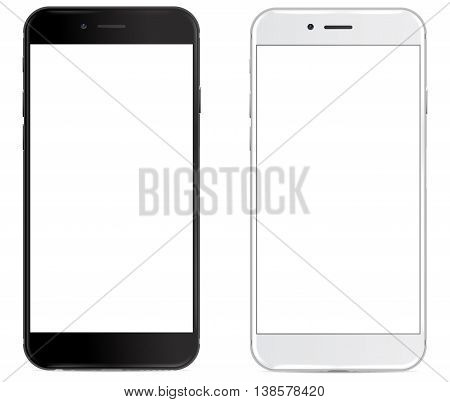 Smartphone in black and white color with blank screen, mockup - Simple way to put a picture or screenshot below glossy, shiny screen layer, which affects each pattern - in eps10