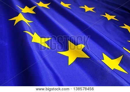 Flag of the European Union countries close-up