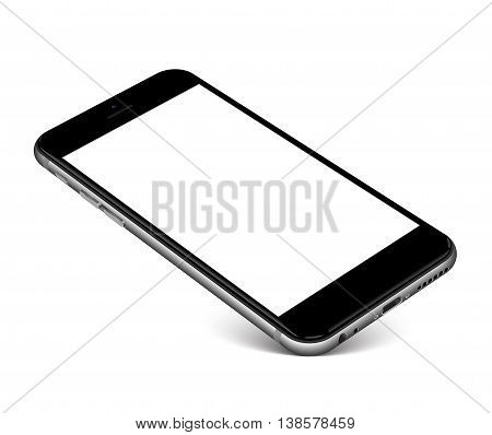 Smartphone with blank screen standing on corner, isolated on white background - high detailed eps 10 vector illustration