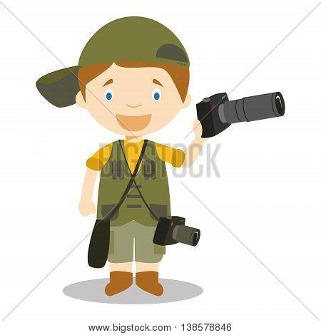 Cute cartoon vector illustration of a photographer