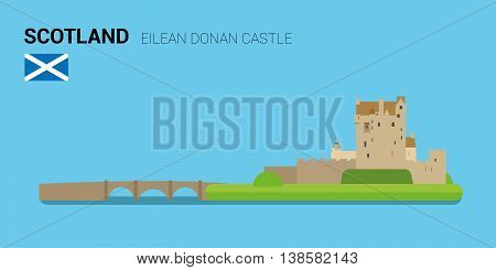 Monuments and landmarks Vector Collection: Eilean Donan Castle. Descripción: Vector illustration of Eilean Donan Castle (Scotland). Monuments and landmarks Collection. EPS 10 file compatible and editable.