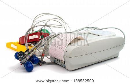 electrocardiogram EKG machine isolated on white background