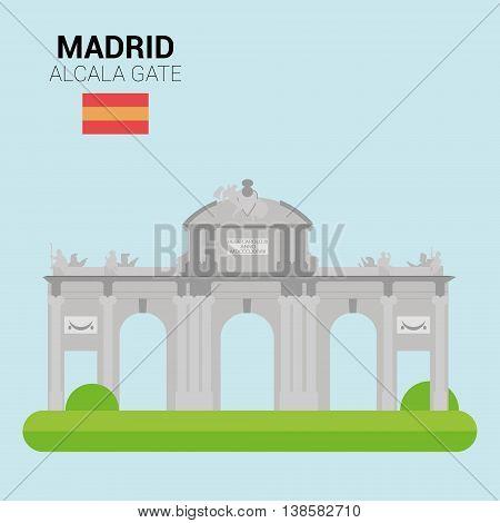 Monuments and landmarks Vector Collection: Alcala Gate. Descripción: Vector illustration of Alcala Gate (Madrid, Spain). Monuments and landmarks Collection. EPS 10 file compatible and editable.