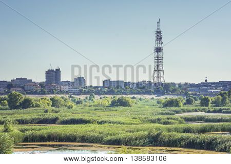 The Delta of Bucharest.Bucharest urban deltainside former lake Vacaresti.Aquatic ecosystem Vacaresti Lake near south-eastern Bucharest covering around 200 hectaresincluding some 80 hectares of water