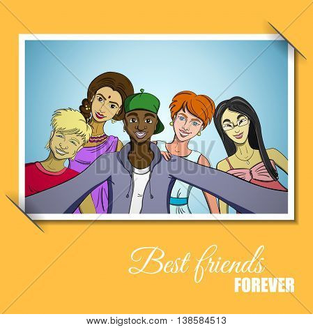 Photo with friends taking selfie. Vector illustration. 10 EPS