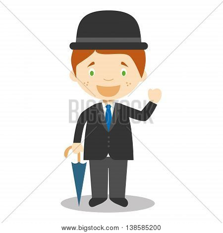 Character from England dressed in the traditional way with umbrella. Vector Illustration. Kids of the World Collection.