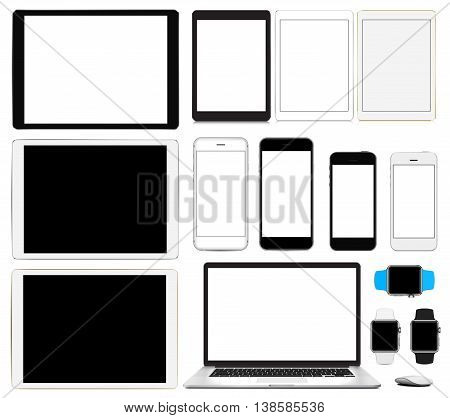 Vector illustration, set of modern electronic devices isolated on white background - laptop, computer, smartphone in two sizes smart watch, tablet pc in different colors and sizes