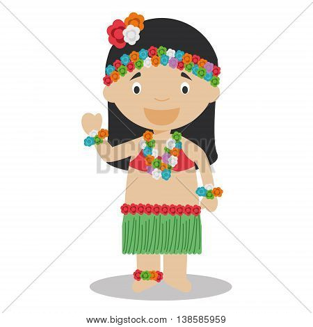 Character from Hawaii dressed in the traditional way Vector Illustration. Kids of the World Collection.