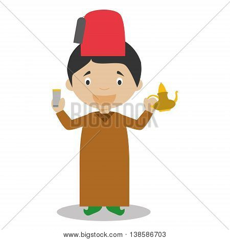 Character from Morocco dressed in the traditional way with a tea set. Vector Illustration. Kids of the World Collection.