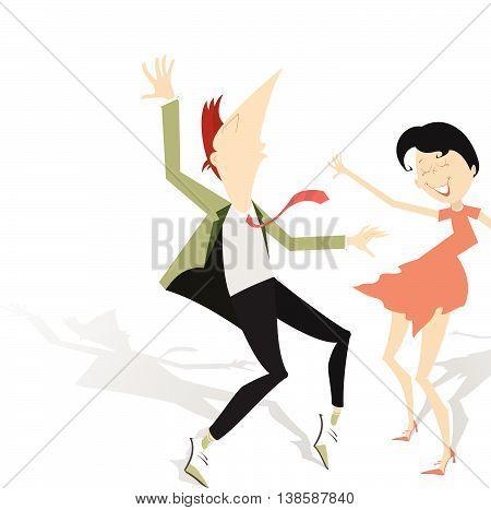 Dance. Funny smiling dancing man and woman
