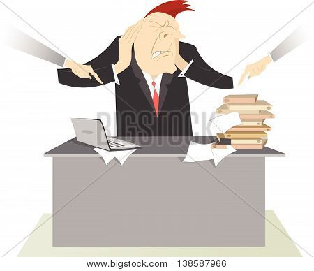 Nervous man and hard working day. People point the fingers at the man, who puts his hands on the head to stop headache, to make him do his work