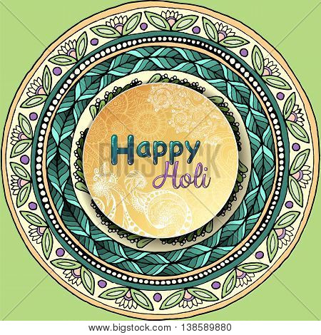 Vector template poster. Indian festival Happy Holi celebrations with hand drawn mandalas background. For web printed media design. Banner business card flyer invitation greeting card postcard.