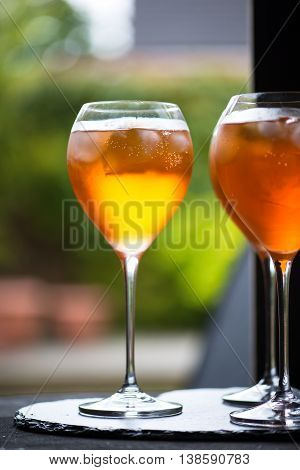 Summer Refreshing Aperitif Drink Aperol Spritz