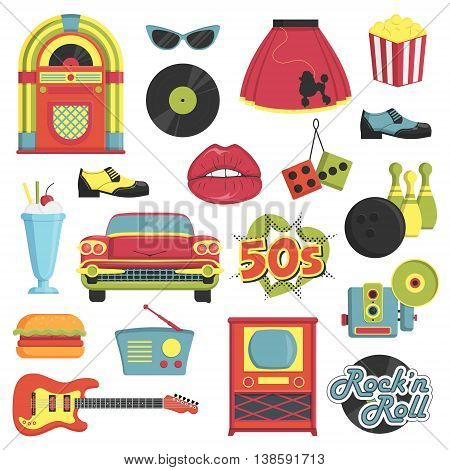 Collection of vintage retro 1950s style items that symbolize the 50s decade fashion accessories, style attributes, leisure items and innovations. poster
