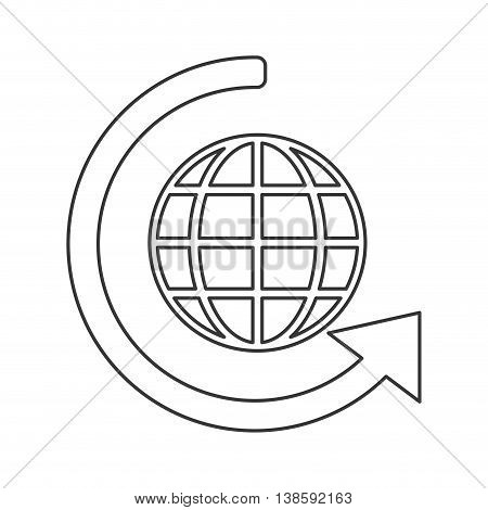 flat design earth glove with latitudes and meridians icon vector illustration