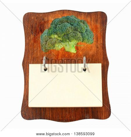brown wooden recipe holder for broccoli recipes, in retro style isolated on white background