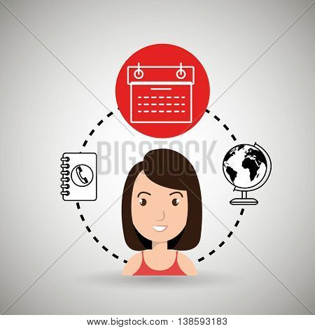 woman calendar and worl isolated icon design, vector illustration  graphic