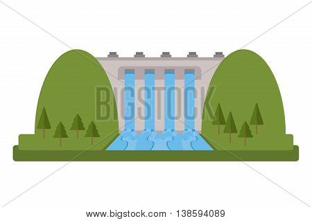 flat design hydroelectric plant icon vector illustration