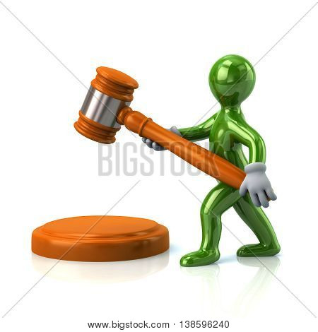 3D Illustration Of Green Man With A Judge Gavel