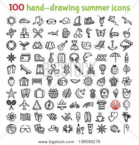 Set of hand-drawing summer time icons for web and mobile. Vector illustration.