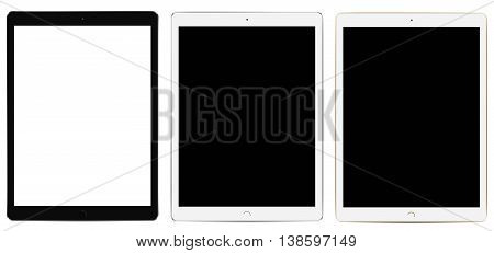Tablets Pro with blank screen isolated on white background