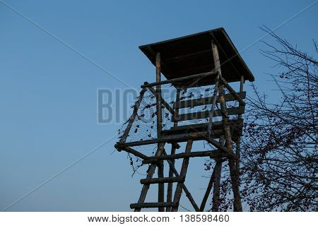 Wooden Hunters High Seat hunting tower in nature