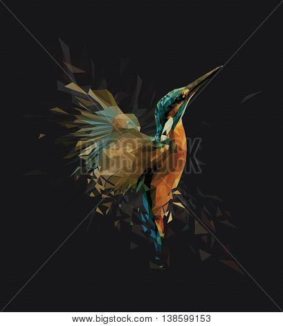 Kingfisher Bird Low-Poly Illustration like Modern Art Concept