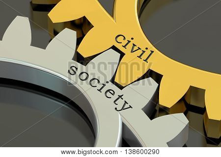 civil society concept on the gearwheels 3D rendering