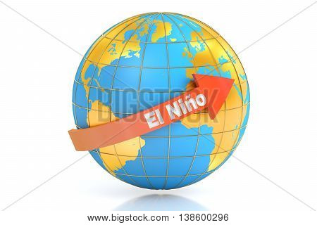 El nino concept 3D rendering isolated on white background