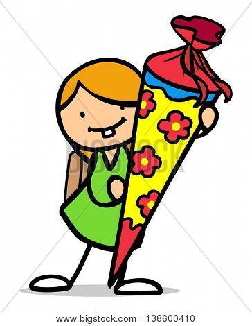 Happy cartoon girl with school cone during enrollment at first day of school