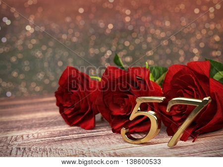 birthday concept with red roses on wooden desk. 3D render - fifty-seventh birthday. 57th