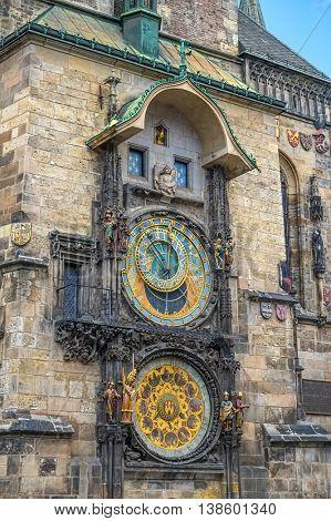 Astronomical Clock or Orloj of the Old Town Hall on the Staromestske namesti Square, Czech Republic.
