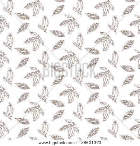 Cocoa beans outline seamless pattern. Chocolate white background. Organic raw cocoa beans line pattern.