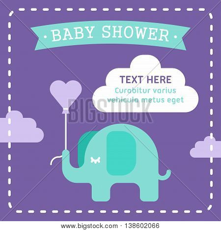 Baby shower invitation template with an elephant. Clouds heart shaped air baloon. violet and seagreen. Colored flat vector illustration on violet background.