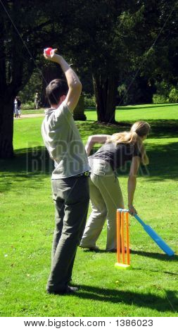 People/Cricketer Playing Game Called Cricket