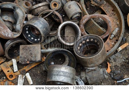 Useless, worn out rusty bearings and other parts