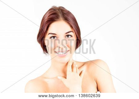 Happy smiling woman touching neck. Skin care concept. Beauty woman.