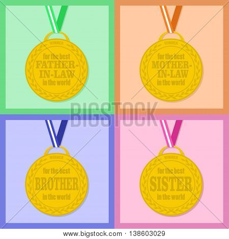 Set of flat icons medals with ribbon for the best sister brother mother-in-law father in law in the world