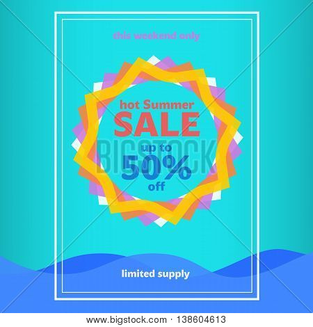 Summer Sale banner template. Abstract sun and water wave. Summer Sale Poster. summer background sun patterned colored wave. Vector Graphics.