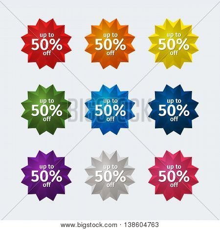 Round off label with corners. Set of round icons with sales percentage. Red label label orange yellow label Green Label Blue Label dark blue Label Purple Label label gray pink label.