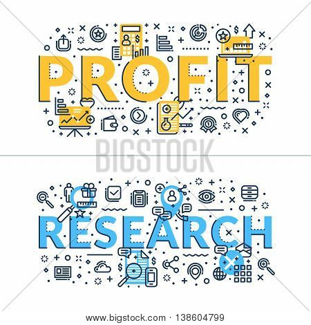 Profit and Research headings titles. Horizontal colored flat vector illustration.