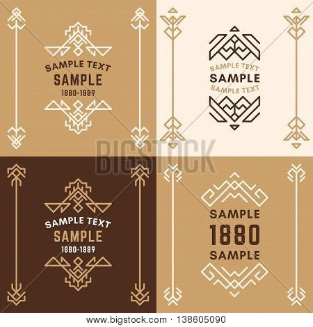 Set Of Four Line Art Decorative Geometric Vector Frames And Borders In Browns. Vector Ornaments, Vec