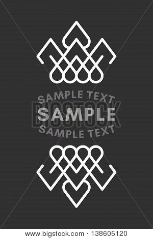 Slavic Or Viking Style Oldfashioned Art Decorative Geometric Vector Frames And Borders. Black And Wh
